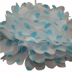 Tissue Pom Pom Polka Dot Blue