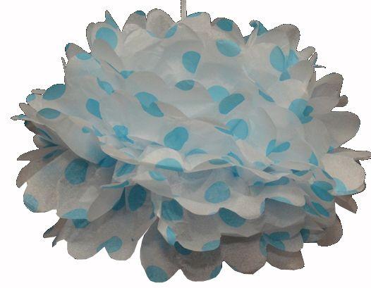 Tissue Pom Pom Polka Dot Blue