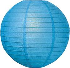 Lantern Round Paper Blue