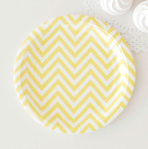 Chevron Yellow Dessert Plates