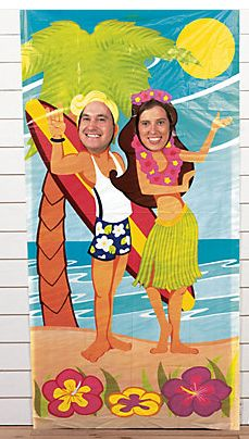 Luau Couple Photo Door Banner