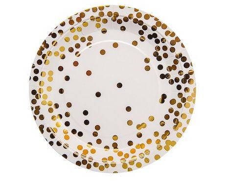 Gold Confetti Paper Plates