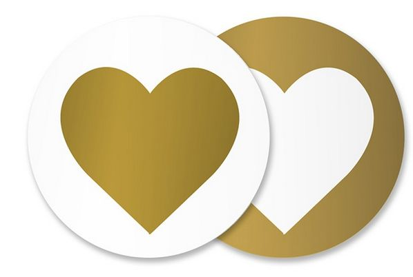 Heart Gold Sticker Seals