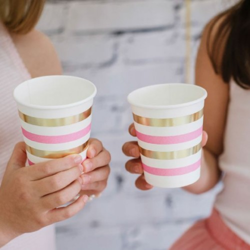 Gold & Pink Stripe Cups