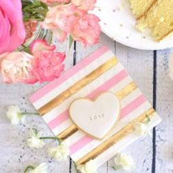 Gold & Pink Stripe/Spots Napkins