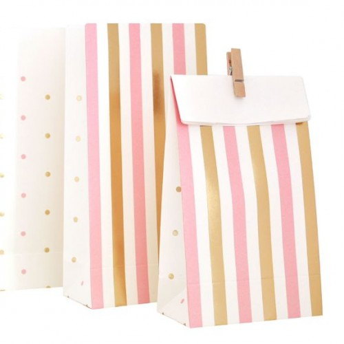 Gold & Pink Stripes/Spots Treat Bags