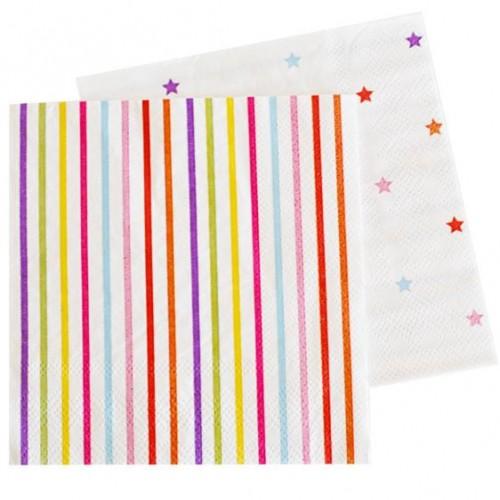Rainbow Lines & Stars Napkins