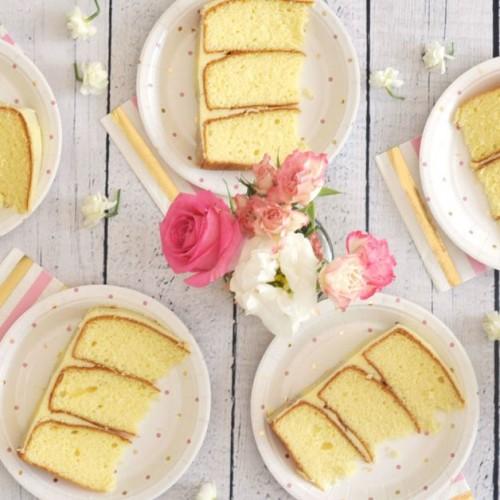 Pink and Gold Spot Dessert Plates