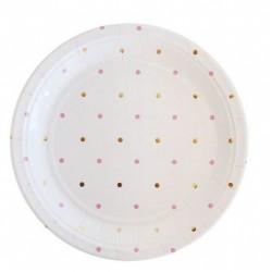 Gold & Pink Spot Dessert Plates