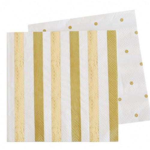 Gold Stripes & Spots Napkins