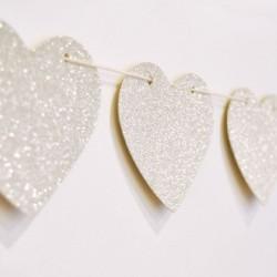 Gold & Silver Glitter Heart Garland