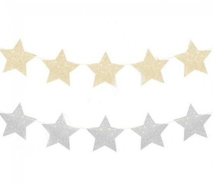 Gold & Silver Glitter Star Garland
