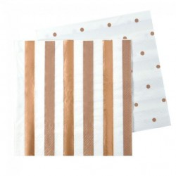 Rose Gold Stripes & Dots Napkins