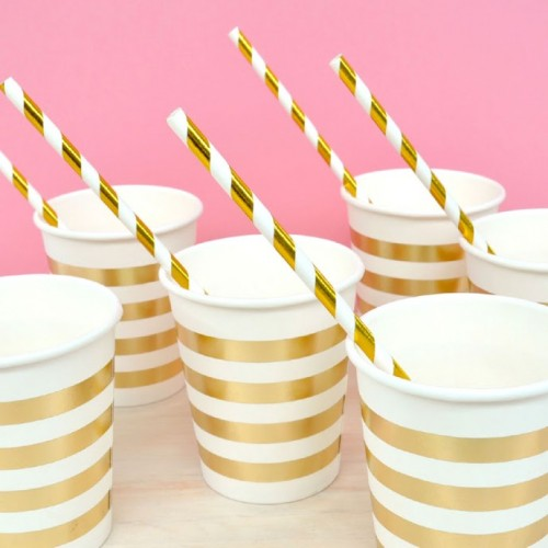 Straws Gold Foil Striped