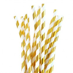 Straws Gold Foil Striped