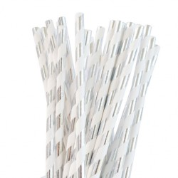 Straws Silver Foil Striped