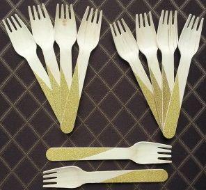 Wooden Stripe Glitter Forks