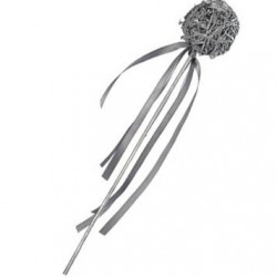Silver Wooden Ball Wand
