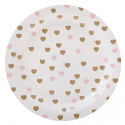 Hearts Gold & Pink Plates
