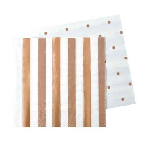 Rose Gold Stripes & Dots Napkins