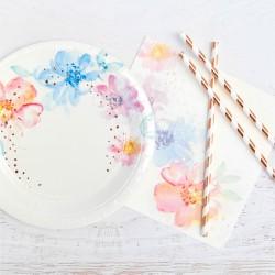 Rose Gold Floral Dessert Plate
