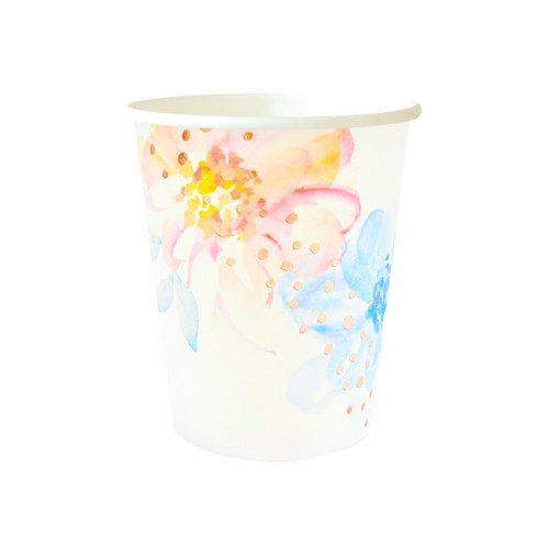 Rose Gold Floral Cups