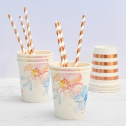 Straws Rose Gold Stripe