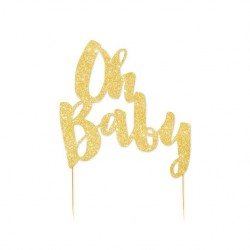 Oh Baby Gold Glitter Cake Topper