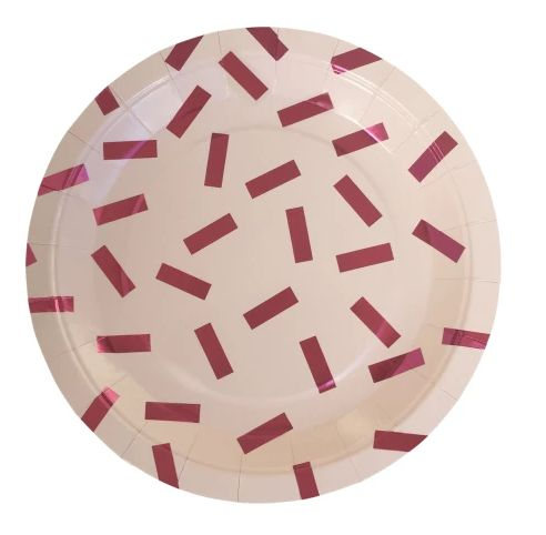 Pink Metallic Confetti Plates