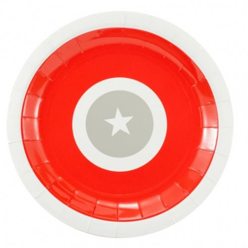 Red Silver Star Paper Plates