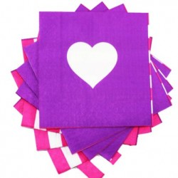 Purple Heart/Pink Stripe Napkins
