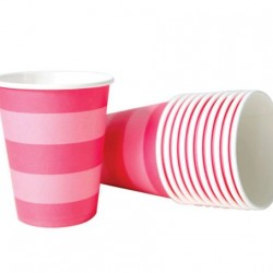 Pink Stripe Cups