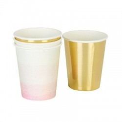 We Heart Pink Ombre/Gold Cups