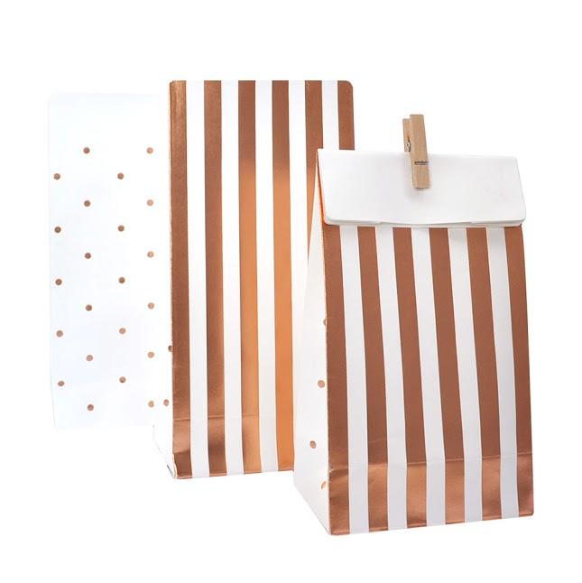 Rose Gold Stripes / Spots Treat Bags